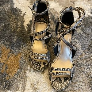 Fergalicious strappy snakeskin sandal size 7m